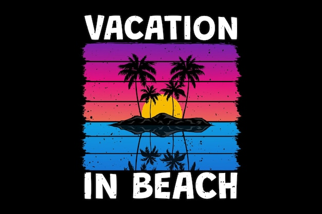 T-shirt design with vacation beach sunset beautiful in retro style vintage