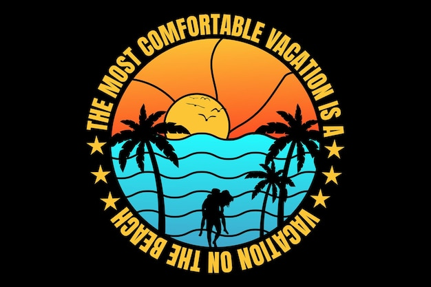 T-shirt design with vacation beach sunset sky in retro vintage style