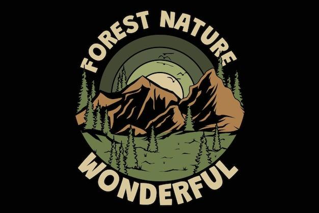 Дизайн футболки с чудесной лесной природой, сосной, гора, винтажный стиль, рисованная