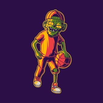 T shirt design zombie playing basketball in dribbling positions illustration