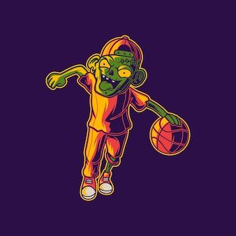 ドリブルイラストにランニングポジションでバスケットボールをするtシャツデザインゾンビ