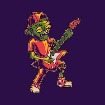 기타 일러스트를 연주하는 좀비의 티셔츠 디자인 좀비 측면보기