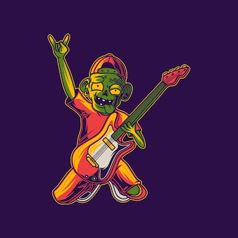 T shirt design zombie with hands above ily guitar illustration