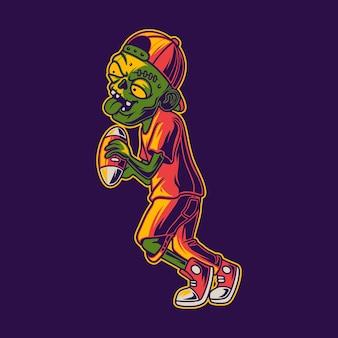 T 셔츠 디자인 좀비는 공 축구 그림을 잡습니다.