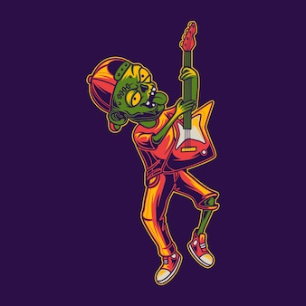 점프 위치 그림에서 기타를 연주하는 티셔츠 디자인 좀비