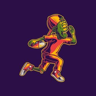ボールサッカーのイラストを運ぶ高速で実行されているtシャツのデザインのゾンビ