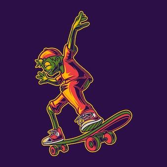 Tシャツのデザインゾンビスケートボードイラストをスライドする準備ができて