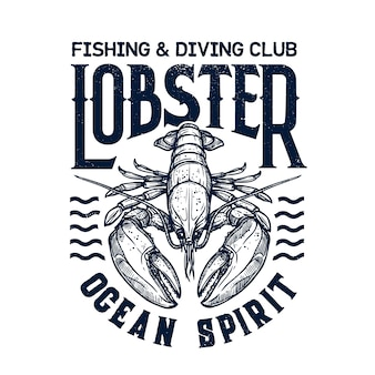 T-shirt diving club print with lobster