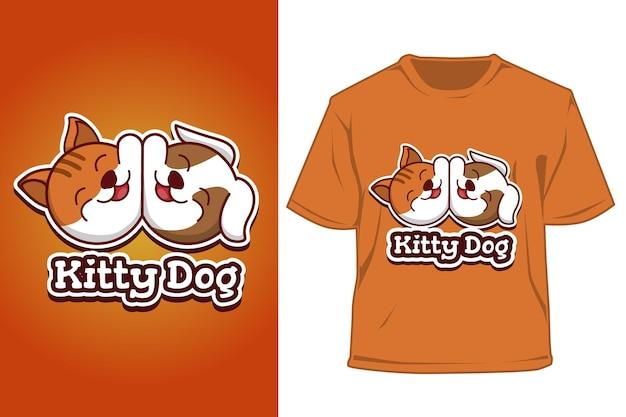 Tシャツ犬と猫のロゴの漫画イラスト