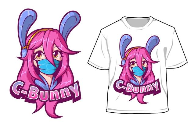 헤드폰으로 t 셔츠 e 스포츠 로고 디자인 소녀