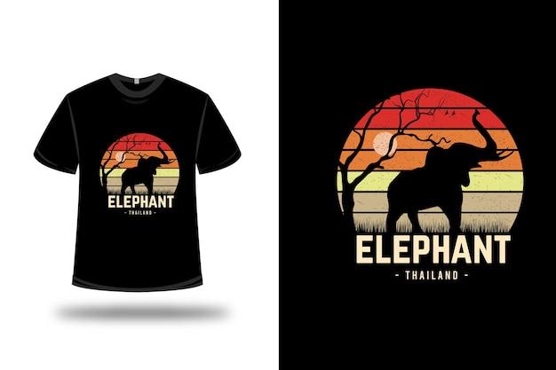 티셔츠 코끼리 태국 색상 빨간색 주황색과 밝은 갈색