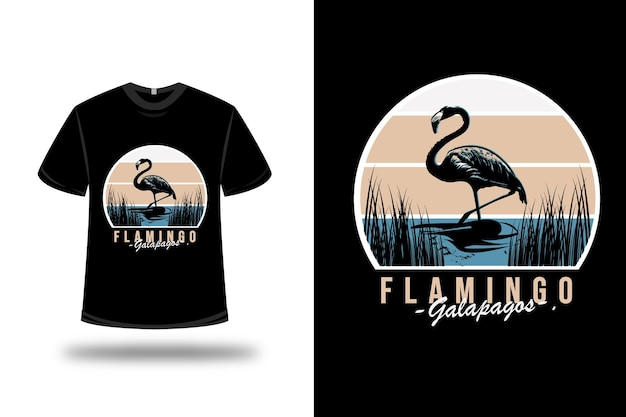 T-shirt flamingo galapagos color blue and white