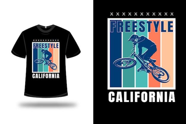 Tシャツフリースタイルカリフォルニアカラーブルーグリーンとクリーム