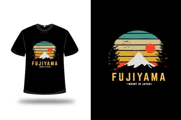 T-shirt fujiyama mount japan color green yellow and orange