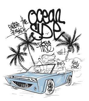 T-shirt graphics. couple enjoying a drive in a convertible.