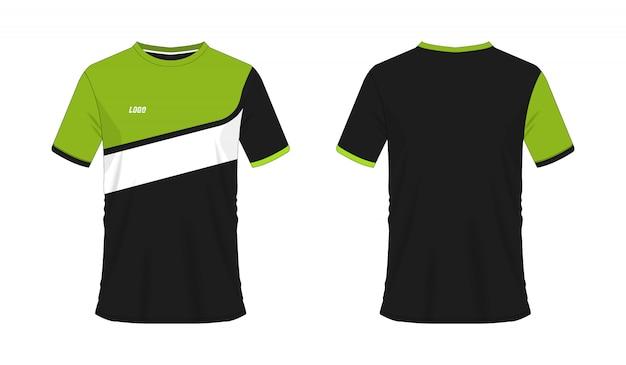 チームクラブのtシャツの緑と黒のサッカーまたはフットボールのテンプレート。ジャージースポーツ、