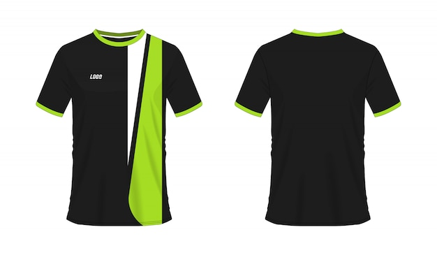 白い背景の上のチームクラブの緑と黒のサッカーまたはフットボールテンプレートのtシャツ。ジャージースポーツ、