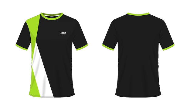 白地にチームクラブのtシャツ緑と黒のサッカーまたはサッカーテンプレート。ジャージースポーツ、 Premiumベクター