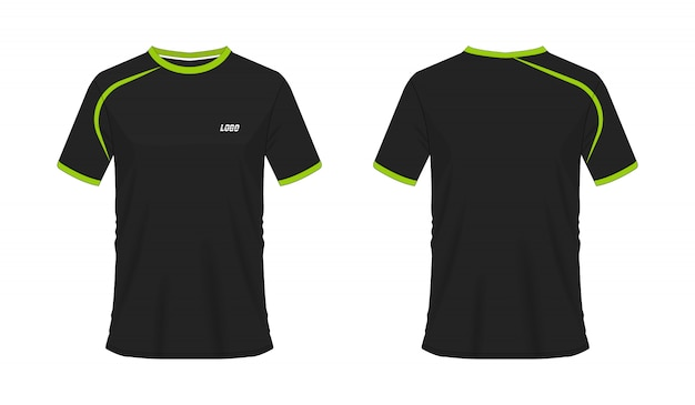 T-shirt green and black soccer or football template for team club on white background. jersey sport