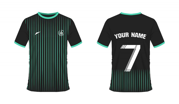T-shirt green and black soccer or football template for team club