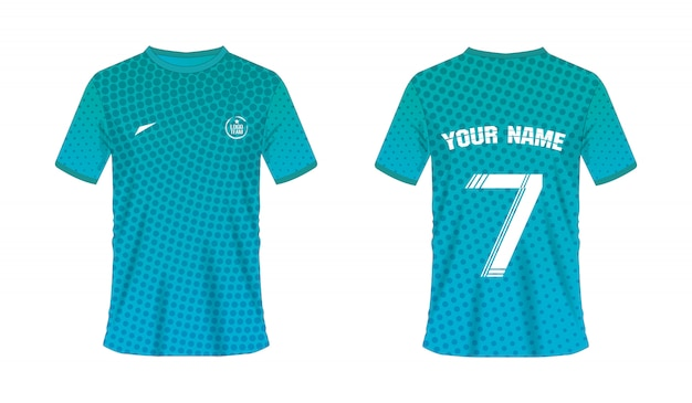 T-shirt green and blue soccer or football template for team club on over halftone texture
