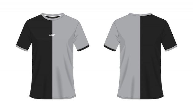 チームクラブのtシャツグレーと黒のサッカーまたはフットボールのテンプレート。ジャージースポーツ、