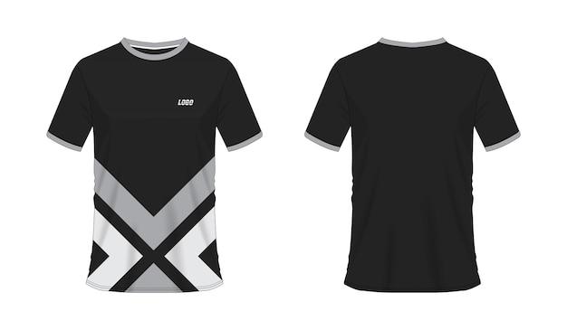 白地にチームクラブのtシャツグレーと黒のサッカーまたはサッカーテンプレート。ジャージースポーツ。