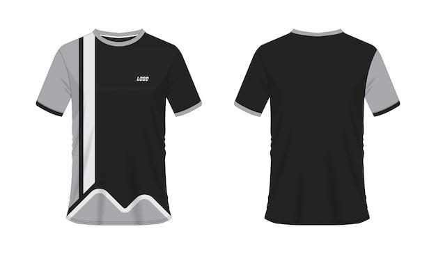 白地にチームクラブのtシャツグレーと黒のサッカーまたはサッカーテンプレート。