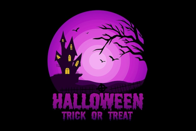 T-shirt halloween trick or treat house witch nature vintage illustration