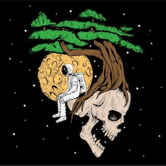 T shirt hand drawn skull astronaut