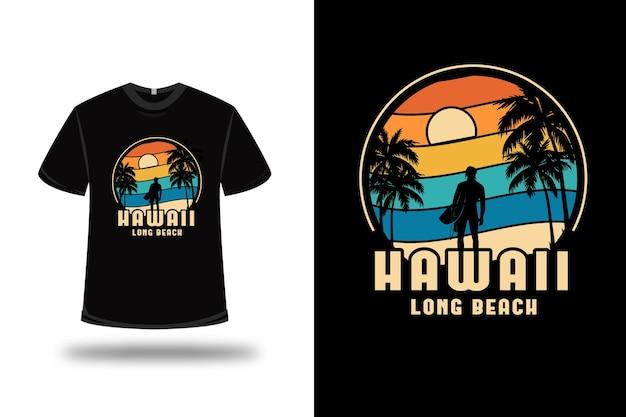 티셔츠 하와이 롱 비치 컬러 오렌지 옐로우와 그린