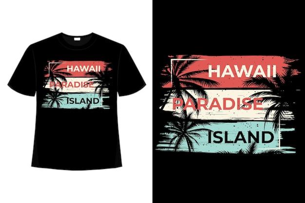 T-셔츠 하와이 낙원 섬 팜 브러시 스타일 복고풍 빈티지 일러스트