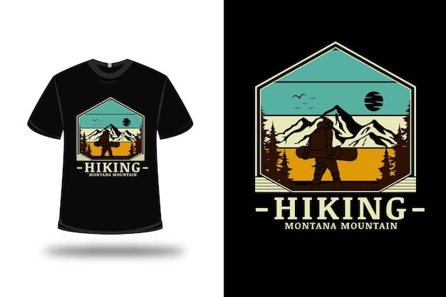 T 셔츠 하이킹 몬타나 산 색상 녹색 노란색과 갈색
