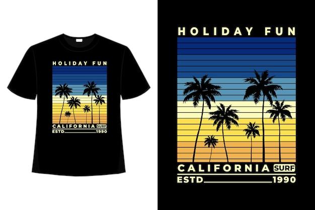 Tシャツホリデー楽しいカリフォルニアサーフィン美しい夕日