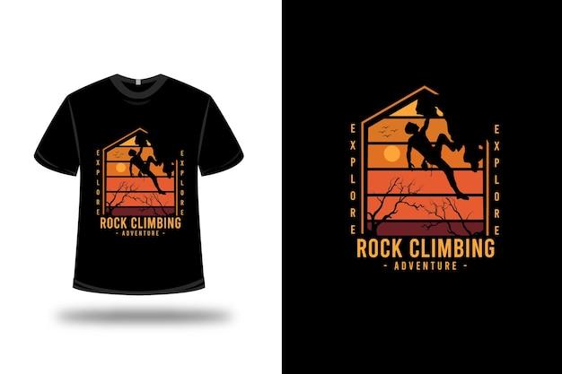 티셔츠 i 탐험 암벽 등반 모험 색상 주황색과 노란색