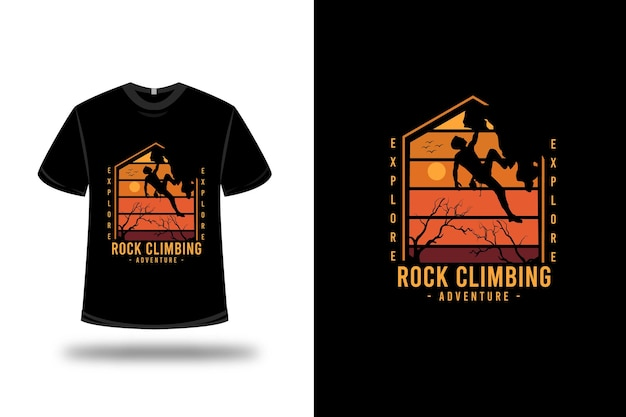 T-shirt i expedition rock climbing adventure color orange and yellow