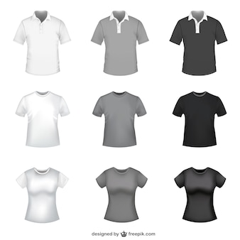 T-shirt in white, grey and black for men and women