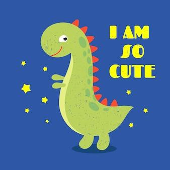 T shirt kids print label with cute dinosaur