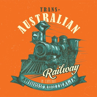 T-shirt label design with illustration of classic train