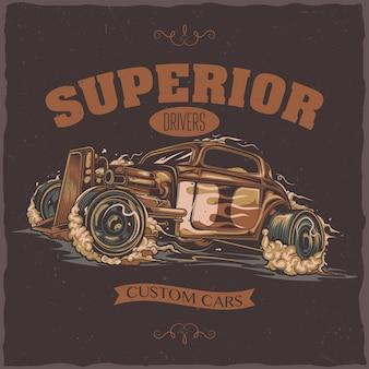 T-shirt label design with illustration of hotrod car