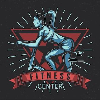 운동 자전거에 소녀의 일러스트와 함께 티셔츠 라벨 디자인