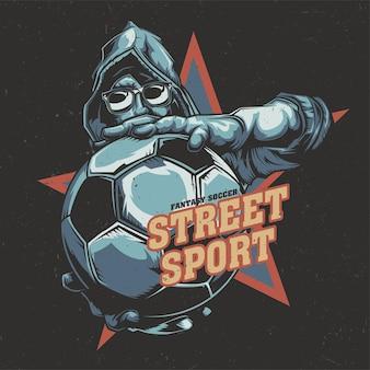 공을 들고 축구 선수의 일러스트와 함께 티셔츠 라벨 디자인