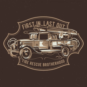 ビンテージ消防車のイラストを使用したtシャツのラベルデザイン。