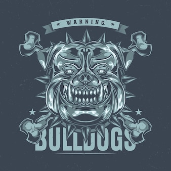 T-shirt label design with illustration of pitbull head
