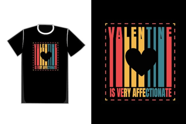 Tシャツラブシェイプカラータイトルバレンタインはとても愛情深いです