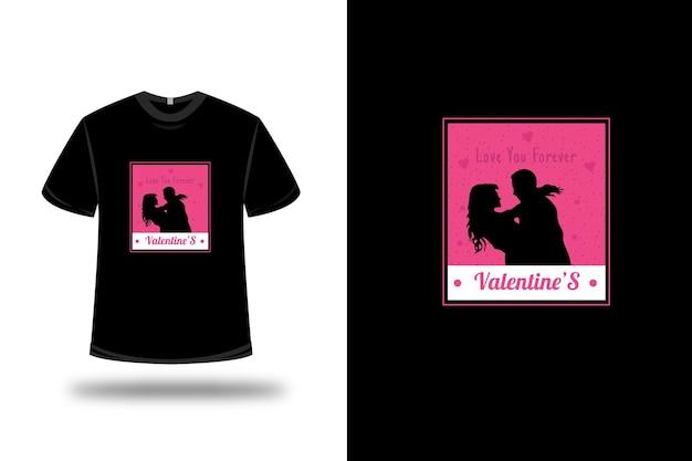 Футболка love you forever valentine цвет розовый и белый