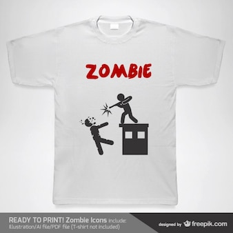 T-shirt man shooting a zombie