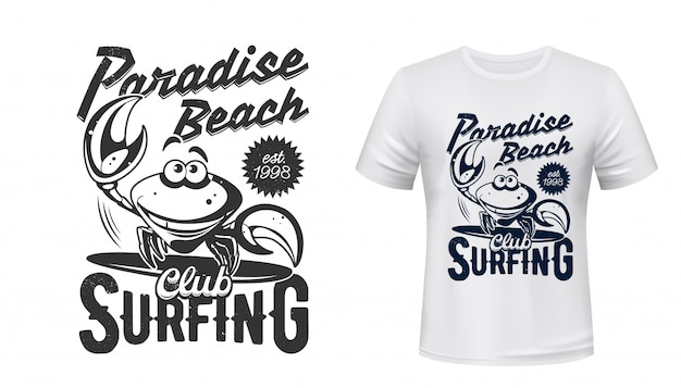 T-shirt marine print, surfing club paradise beach