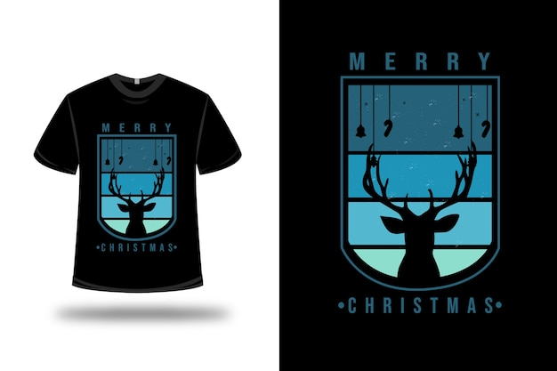 Tシャツメリークリスマスカラーブルーとブラック
