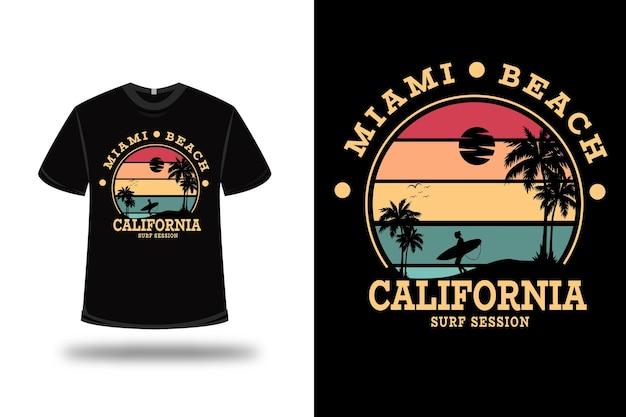 티셔츠 마이애미 비치 캘리포니아 서핑 세션 색상 빨간색 노란색 및 녹색